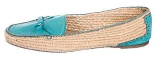 Salvatore Ferragamo Bow-Accented Straw Loafers