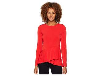 ECI Long Sleeve Double Flounce Hem Top Women's Clothing
