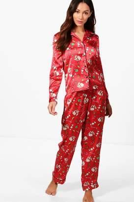 boohoo Petite Maddie Christmas Satin Pyjamas