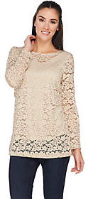 Susan Graver Stretch Lace Long Sleeve Tunicwith Tank