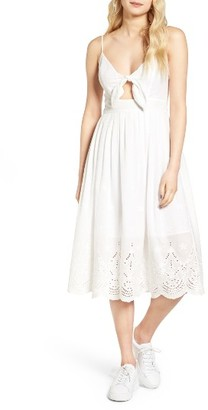 Women's J.o.a. Eyelet Cotton Tie Front Midi Dress $89 thestylecure.com