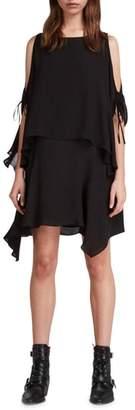 AllSaints Ella Sheer Cold Shoulder Shift Dress