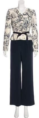 Oscar de la Renta Vintage Embroidered High-Rise Pantsuit