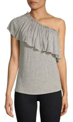 Rebecca Taylor Ruffle One-Shoulder Jersey Top