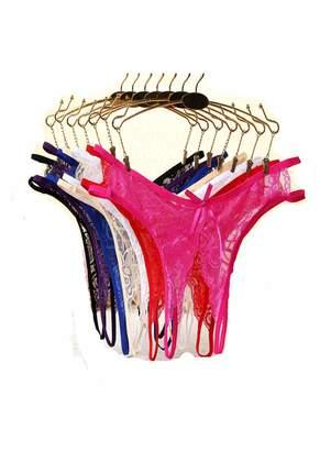 0853b1cd1730 Justgoo Women's Open Crotch Underwear Sexy Lace G-String Thong Panty