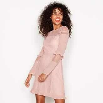 at Debenhams · Red Herring Pink Lace Detail Long Sleeve Mini Shift Dress 62af0f8e5