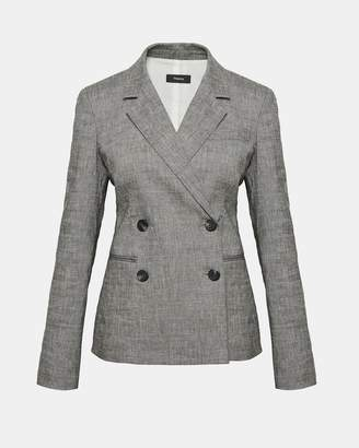 Theory Crunch Linen Double-Breasted Blazer
