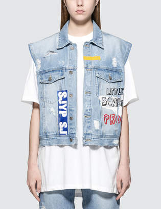 Sjyp Graphic Painted Denim Vest Jacket