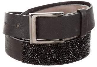Brunello Cucinelli Leather Crystal-Embellished Belt