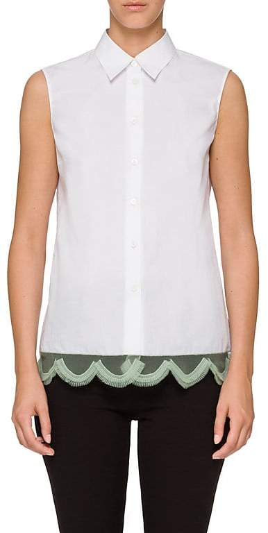 Prada Women's Scalloped-Hem Cotton Poplin Shirt