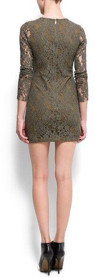 MANGO Long sleeved lace dress