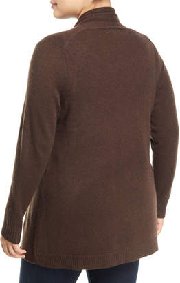 Neiman Marcus Cashmere Open-Front Computer Cardigan, Plus Size, Brown