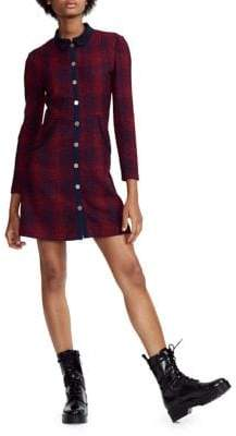 Maje Renitia Tweed Plaid Shirtdress