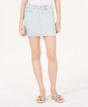 Vanilla Star Juniors' Striped Denim Mini Skirt