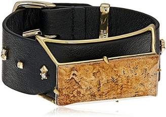 Alexis Bittar Geometric Leather Band Buckle with Custom Baguette Wrap Bracelet