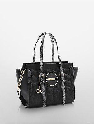 Calvin KleinCalvin Klein Womens Gemma Studio Satchel Crossbody Bag Black Quilt Snake Mix