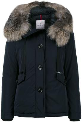 Moncler fox fur trimmed short fitted parka jacket