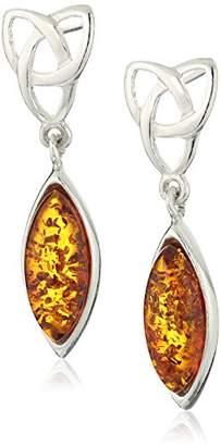 Celtic Amber Sterling Silver Stud Earrings