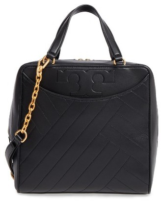Tory Burch Chevron Quilted Leather Satchel - Black $650 thestylecure.com