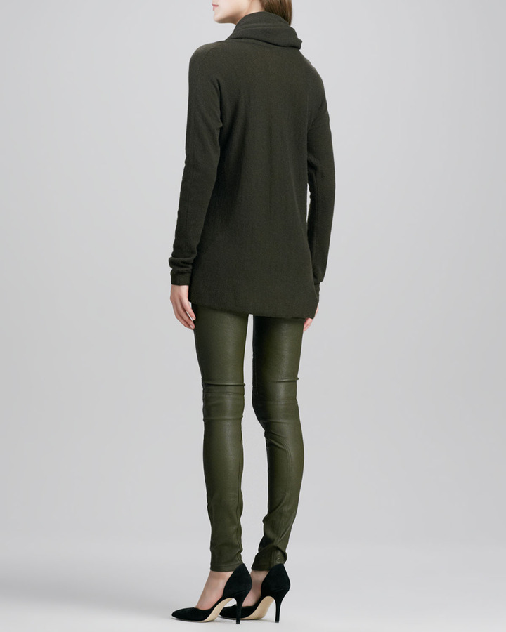 Vince Moto Leather Pants, Khaki Green
