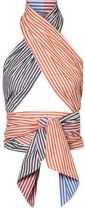 MDS Stripes - Cutout Striped Cotton-poplin Wrap Top - Blue