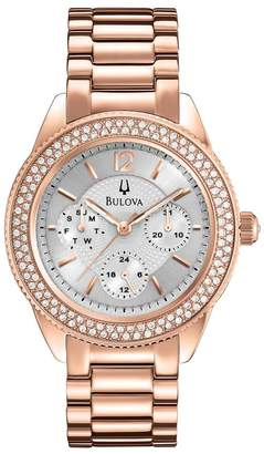 Bulova Ladies Rosetone Crystal Accented Bracelet Watch