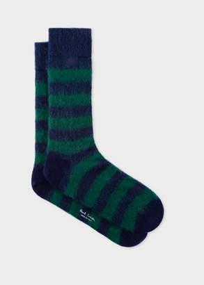 Paul Smith Men's Green And Blue Stripe Mohair-Blend Socks