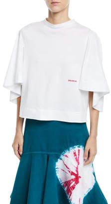 Calvin Klein Elbow Bell-Sleeve Crewneck Boxy Cotton-Jersey Top