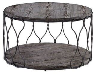 Williston Forge Malley Industrial Round Metal and Solid Wood Coffee Table Williston Forge
