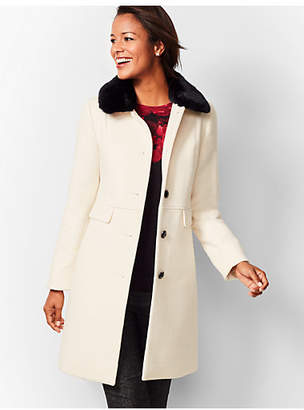 Talbots Faux-Fur-Trim Wool Coat - Ivory