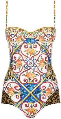 Dolce & Gabbana Carretto Printed One-Piece Swimsuit