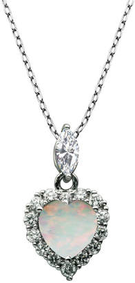 """925 Sterling Silver with Lab Created Opal and Cubic Zirconia Heart Pendant with 18"""" Chain"""