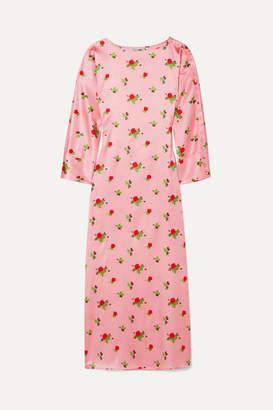 Dakota BERNADETTE Floral-print Stretch-silk Satin Maxi Dress - Pink