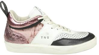 Leather Crown Leather Sneakers With Details In Velvet And Laminated Leather