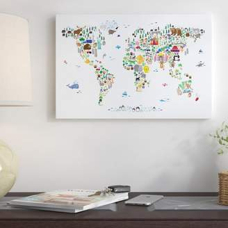 East Urban Home 'Animal Map of the World' Graphic Art Print