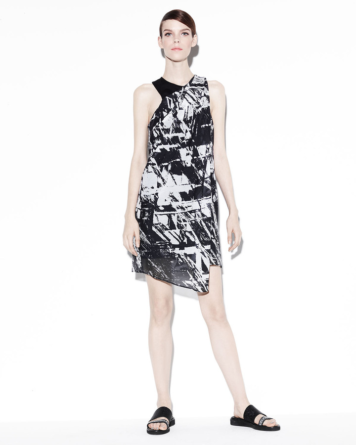 Helmut Lang Meteor Printed Gather-Neck Dress