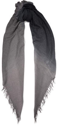 Chan Luu Fringed Ombré Metallic Cashmere And Silk-blend Scarf - Gray