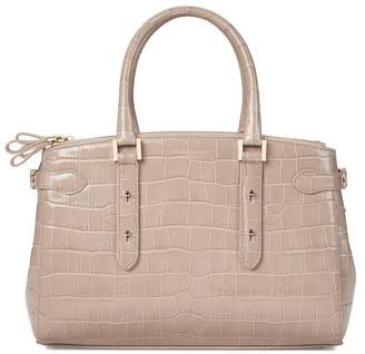Aspinal of London Brook Street Bag In Deep Shine Soft Taupe Croc