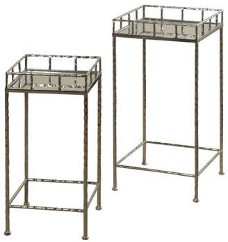 Generic Mirror Top Nested Side Tables - Silver Leaf Finish - 2 Piece Set