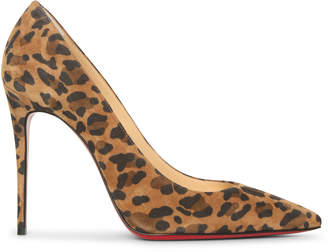 Christian Louboutin Kate 100 suede leopard pumps