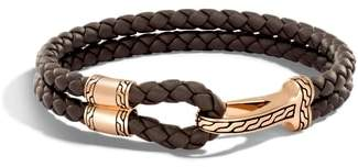 John Hardy Classic Double Leather Chain Bronze Hook Bracelet