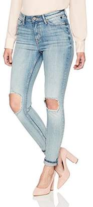 Denim Bloom Women's High Rise Ankle Skinny Ruggued Blue Wash with Cuff Up Stretch Jean 26Wx26L