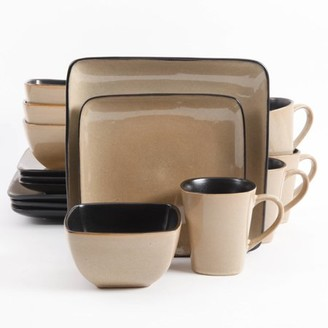 Gibson Home Gibson Everyday Rave Square 16-Piece Dinnerware Set, Taupe