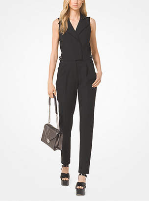 Michael Kors Stretch-Twill Belted Jumpsuit