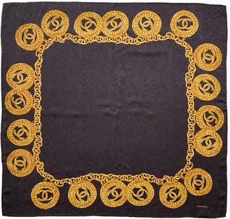 Chanel Black Silk Medallion Chain Print Scarf
