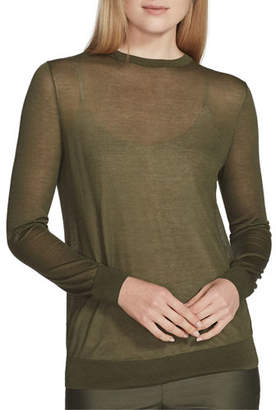 Lafayette 148 New York Crewneck Finespun Voile Sweater