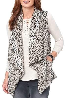 Democracy Leopard Print Faux-Fur Vest