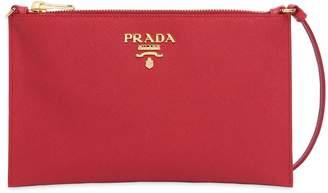 Prada Saffiano Leather Flat Shoulder Bag