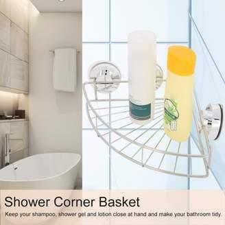 HURRISE Stainless Steel Bathroom Wall Mounted Suction Shower Corner Basket Storage Shelf Drill Free, Shower Corner Suction Basket, Shower Corner Rack
