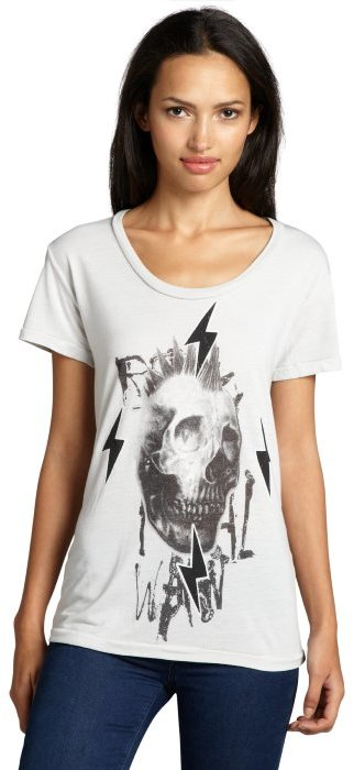 Second Sunday light silver cotton blend 'Fix' skull graphic t-shirt